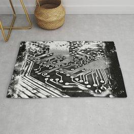 platine board conductor tracks splatter watercolor black white Rug