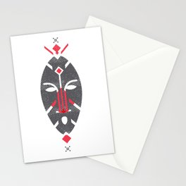 African Mask Red Stationery Cards