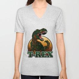 Agressive t rex illustration Unisex V-Neck