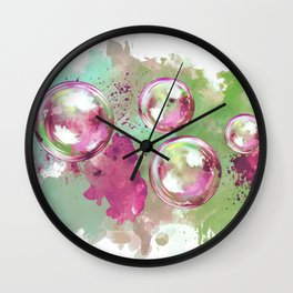 Soap bubbles in the sky watercolor painting Wall Clock
