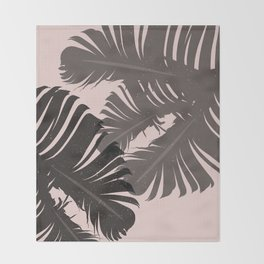 Tropical Leaf Silhouette in Pink Palette Throw Blanket