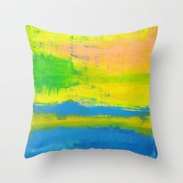'A Sunny Day' Yellow Coral Blue Abstract Art Throw Pillow