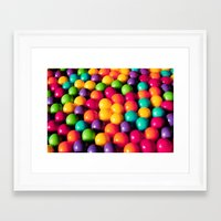 gumball Framed Art Prints featuring Rainbow Candy: Gumballs by WhimsyRomance&Fun