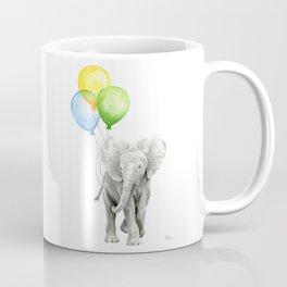 Elephant Watercolor Baby Animal with Balloons Blue Yellow Green Coffee Mug