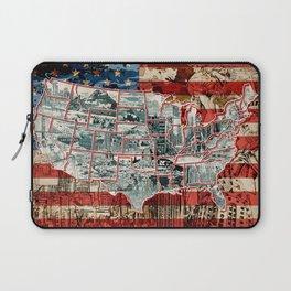 usa map urban city collage Laptop Sleeve