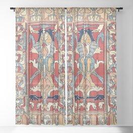 Sehna Kurdish Northwest Persian Rug Print Sheer Curtain