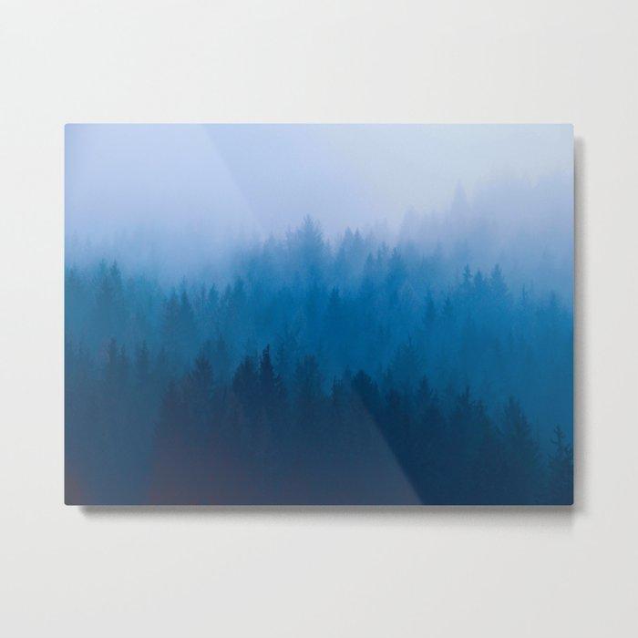 e80c48e92fa2 Blue Mountain Pine Trees Blue Ombre Gradient Colorful Landscape photo Metal  Print by enshape