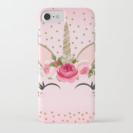 Pink & Gold Cute Floral Unicorn iPhone Case