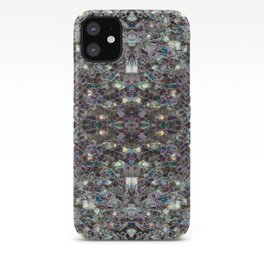 Sparkly colourful silver mosaic mandala iPhone Case
