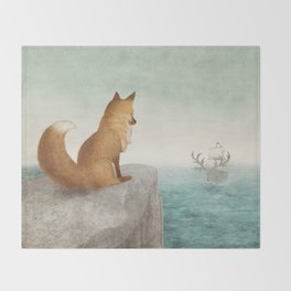 The Day the Antlered Ship Arrived Throw Blanket