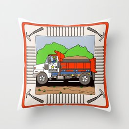 Dump Truck Block Throw Pillow