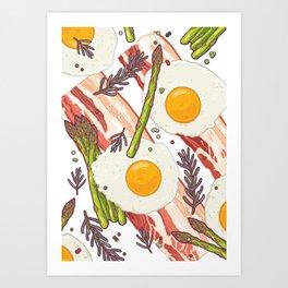 Breakfast pattern Art Print