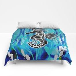 deep blue seahorse Comforters