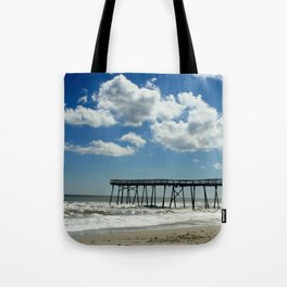 Silhouetted pier Tote Bag