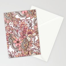 Boho chic red brown floral hand drawn pattern Stationery Cards