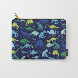 Watercolor Dinosaur Blue Green Dino Pattern Carry-All Pouch