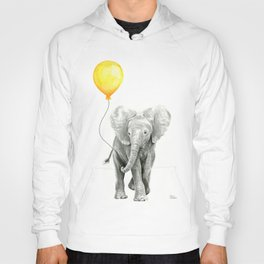 Elephant Watercolor Yellow Balloon Whimsical Baby Animals Hoody