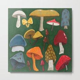 Mushroom Fungus Love Pattern Metal Print