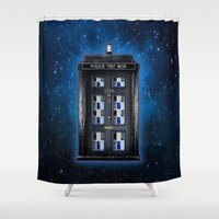 221b Shower Curtains featuring new Tardis doctor who sherlock holmes 221b door iPhone 4 4s 5 5c, ipod, ipad, pillow case and tshirt by Three Second