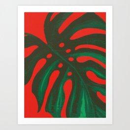 Monstera Palm Leaf Tropical Halftone Art Print