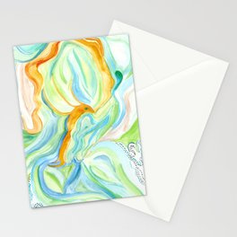 Golden Lotus Flying Fish Stationery Cards