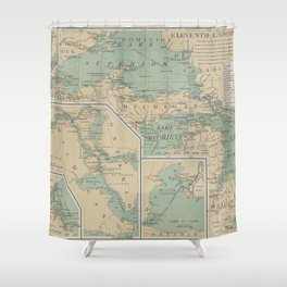 Vintage Great Lakes Lighthouse Map (1898) Shower Curtain