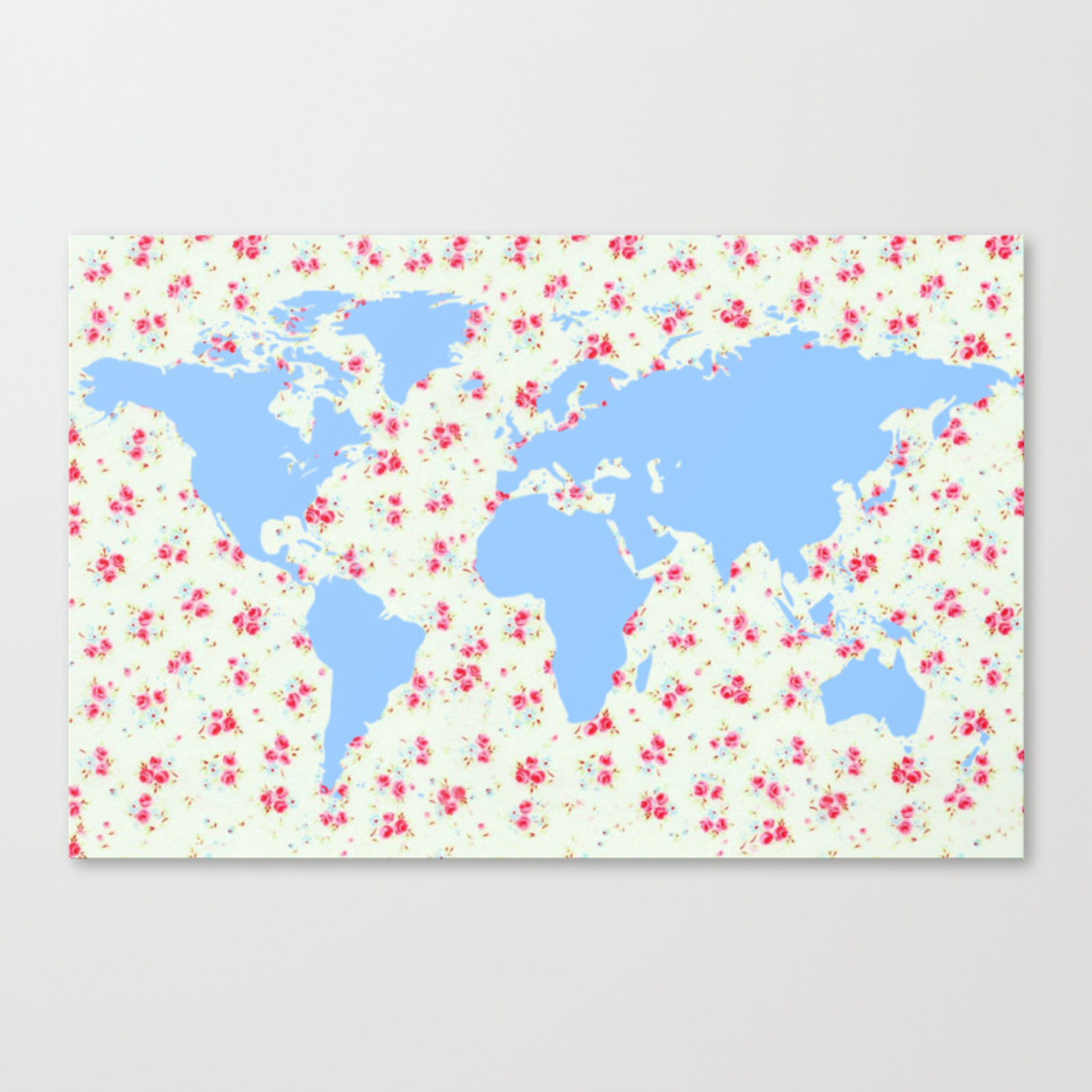 Floral World Map With Pretty Vintage Rose Flowers Background
