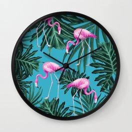 Summer Flamingo Jungle Vibes #2 #tropical #decor #art #society6 Wall Clock