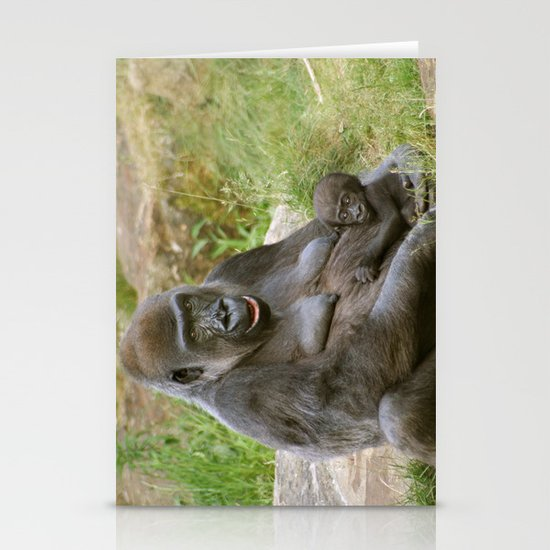 Gorilla Mother and Baby Stationery Cards