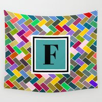 monogram Wall Tapestries featuring F Monogram by mailboxdisco