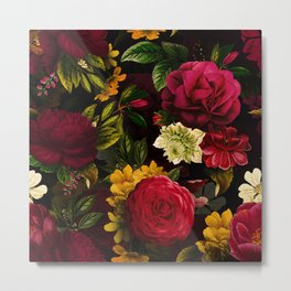 Vintage & Shabby Chic - Mystical Night Roses Bouquet Metal Print