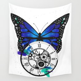 Butterfly Pocketwatch Painting Wall Tapestry