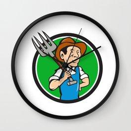 Farmer Pitchfork On Shoulder Circle Cartoon Wall Clock