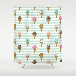 ice cream cones flavors mint stripes food fight apparel and gifts Shower Curtain