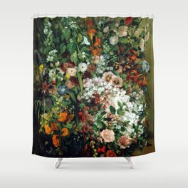 Gustave Courbet Bouquet of Flowers in a Vase Shower Curtain