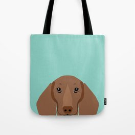 Doxie Portrait - Red dog design - cute dachshund face Tote Bag
