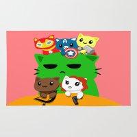superhero Area & Throw Rugs featuring Superhero Kitties  by Mayying