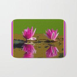 Fuchsia Water Lilies Green Art Bath Mat