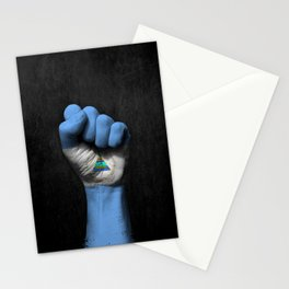 Nicaraguan Flag on a Raised Clenched Fist Stationery Cards