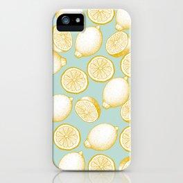 Lemons On Turquoise Background iPhone Case