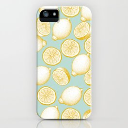 Lemons On Turquoise Background iPhone Case