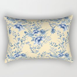 Chinoiserie Flowers Blue on Lemon Honey Creme Rectangular Pillow