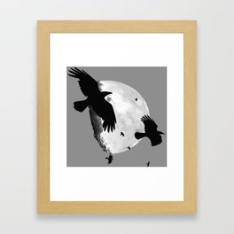A Murder Of Crows Flying Across The Moon Framed Art Print