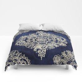 Cream Floral Moroccan Pattern on Deep Indigo Ink Comforters