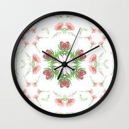 Symmetrical watercolor fynbos pattern Wall Clock