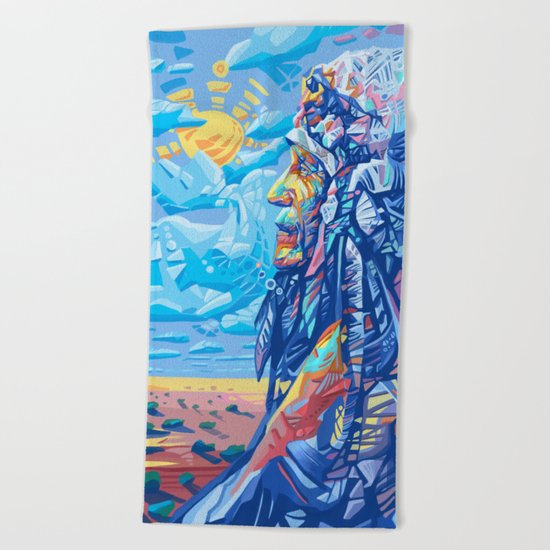 native american portrait 3 Beach Towel