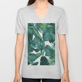 Tropical Summer Jungle Leaves Dream #2 #tropical #decor #art #society6 Unisex V-Neck