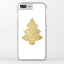Gold Glitter Christmas Tree Clear iPhone Case