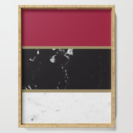 Marble Mix Stripes #2 #black #white #red #gold #decor #art #society6 Serving Tray