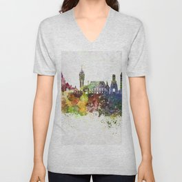 Calais skyline in watercolor background Unisex V-Neck